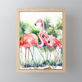 Flamingo Flamingos and Papyrus, flamingo lover pink green art Framed Mini Art Print