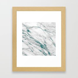 Gray Marble Aqua Teal Metallic Glitter Foil Style Framed Art Print