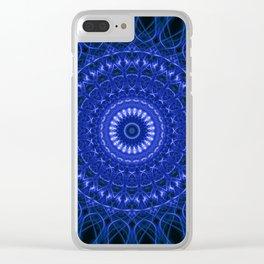 Dark blue mandala Clear iPhone Case