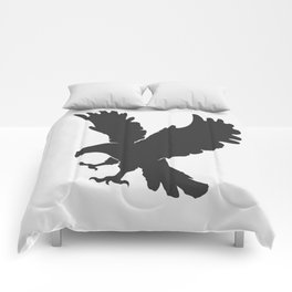 vector silhouette flying eagle on a white background Comforters