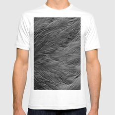 Gray Feathers Mens Fitted Tee White MEDIUM
