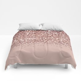 Glam Rose Gold Pink Glitter Gradient Sparkles Comforters