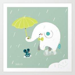 Rainy Elephant Art Print
