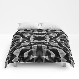 Kaleidoscopic of chaotic black and white glass fragments, irregular cubic figures and ice floes. Comforters