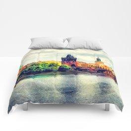 Prague panorama watercolor Comforters