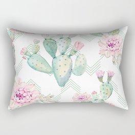 Cactus Chevron Southwestern Watercolor Rectangular Pillow