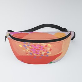 Bright happy colors rose on dusty pink background Fanny Pack