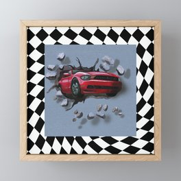 Speeding Red Car Breaking Through Wall Framed Mini Art Print