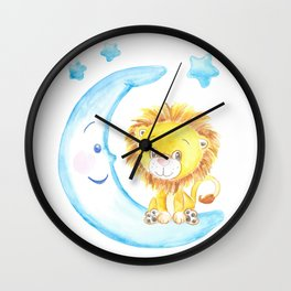 baby lion, blue moon with stars, baby boy room, baby shower gift, watercolor painting Wall Clock