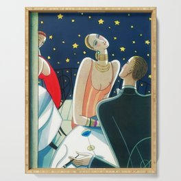 The Woman in Red & Stars, Art Deco - Haute Couture NYC Portrait Painting Serving Tray