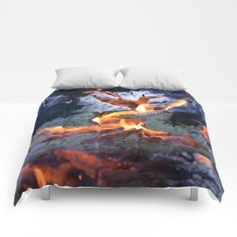 black white and flame Comforters