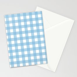 Light Blue & White Gingham Pattern Stationery Cards