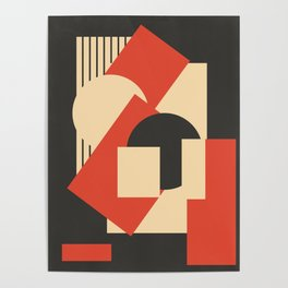 Geometrical abstract art deco mash-up scarlet beige Poster