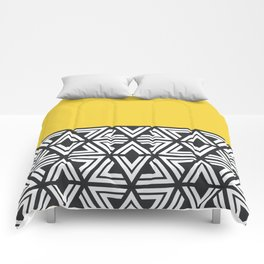 Black, White and Yellow Geo Comforters