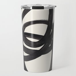 Mid Century Modern Minimalist Abstract Art Brush Strokes Black & White Ink Art Spiral Circles Travel Mug