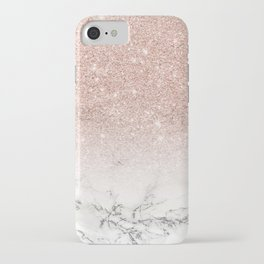 Modern faux rose gold pink glitter ombre white marble iPhone Case