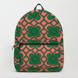 Coral Pink Clover Pattern Design Backpack