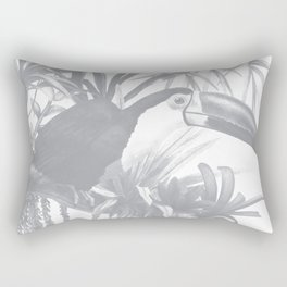 Toucans and Bromeliads - Sharkskin Grey Rectangular Pillow