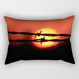 Barbwire Fence silhouette at Sunset shot closeup. Rectangular Pillow