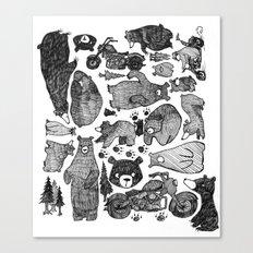 Bear and motorcycles Canvas Print