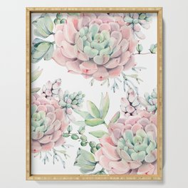 Pink Succulents by Nature Magick Serving Tray