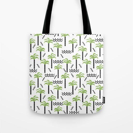 Palm trees tropical minimal ocean seaside socal beach life pattern Tote Bag