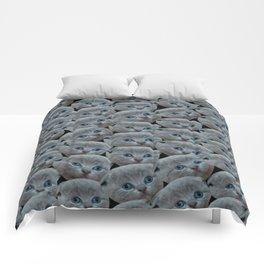 cute collage pattern shorthair grey cat Comforters
