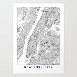 New York City White Map Art Print