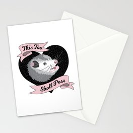 Wise Possum - This Too Shall Poss Cute Opossum Anxiety  Stationery Cards
