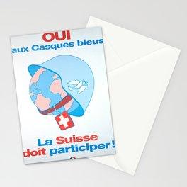 Plakat oui aux casques bleus la suisse Stationery Cards