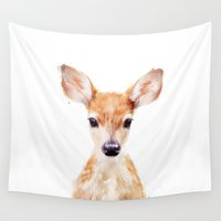 history Wall Tapestries featuring Little Deer by Amy Hamilton
