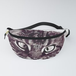 squinting maine coon cat vector art white Fanny Pack