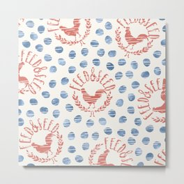Shabby Farmhouse Rooster Faux Vintage Advertising Sign Coral Blue Beige Metal Print