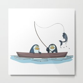 Penguins are fishing on the boat Metal Print