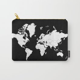Minimalist World Map White on Black Background. Carry-All Pouch