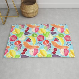 Fruit Salad in Watercolors on Bright Blue Background Rug