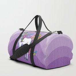 Magical Unicorn in a Hazy Purple Sunset Duffle Bag