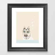 Diver Dog Framed Art Print