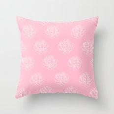 Pink Pastel Peony Pattern Throw Pillow