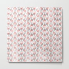 Shabby Modern Folksy Farmhouse Flowers and Arrows in Faded Red Blue Gray Metal Print