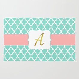"""Mint Pattern + Pink Coral Accent + Gold """"A"""" Monogram Rug"""