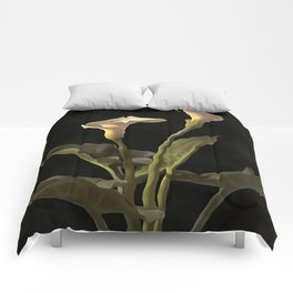 White Calla Lilies On A Black Background Comforters