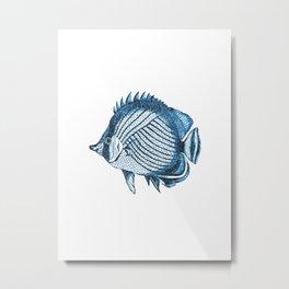 Fish coastal ocean blue watercolor Metal Print