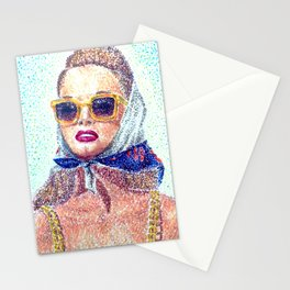 Woman with scarf Stationery Cards