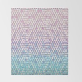 Spring Mermaid Scales Throw Blanket