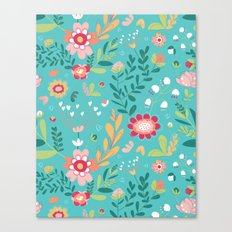 Teal Garden Hearts Canvas Print