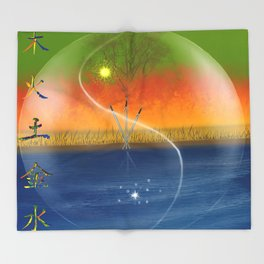 Feng Shui five elements Throw Blanket