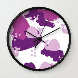 pink whales Wall Clock
