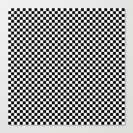 Black White Checks Minimalist Canvas Print