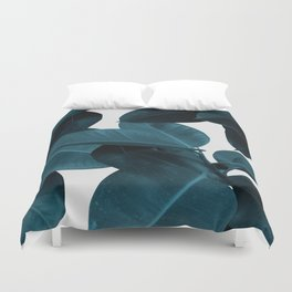 Indigo Plant Leaves Duvet Cover